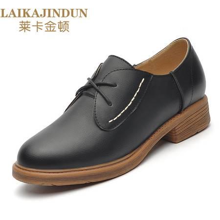 莱卡金顿 6109英伦学院风复古小皮鞋2016秋季新款女鞋系带粗跟圆头平底休闲单鞋