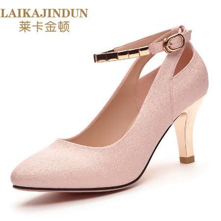 莱卡金顿 2016秋季新款浅口单鞋女士百搭中跟优雅性感细跟高跟女鞋6103