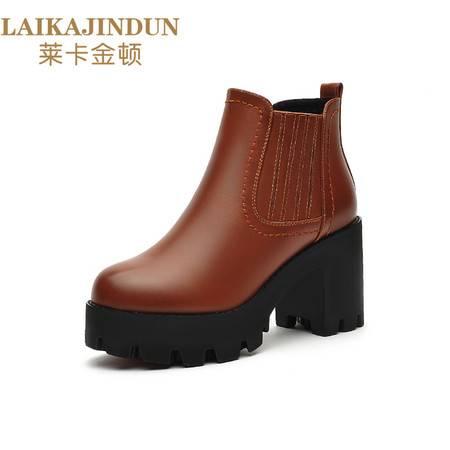莱卡金顿 2016秋季新款圆头纯色女靴子粗跟侧拉链短靴防水台女鞋6100