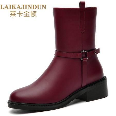 莱卡金顿 6137马丁靴女英伦风2016秋冬新款中跟短靴粗跟防水台时尚女靴