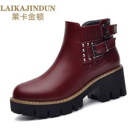 莱卡金顿 6136秋冬季圆头侧拉链女靴子粗跟纯色女短靴防水台女鞋潮