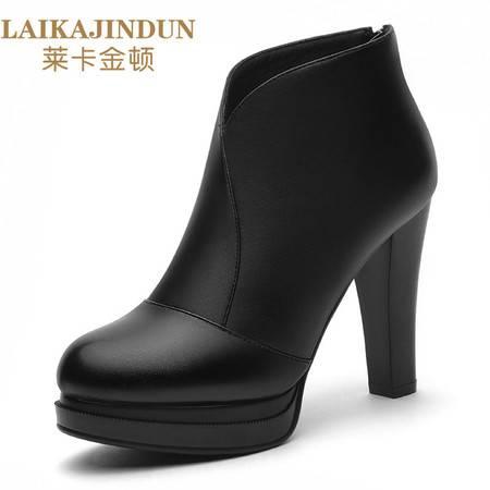 莱卡金顿 秋冬新款单鞋粗跟女靴子后拉链短靴女高跟防水台女鞋6123