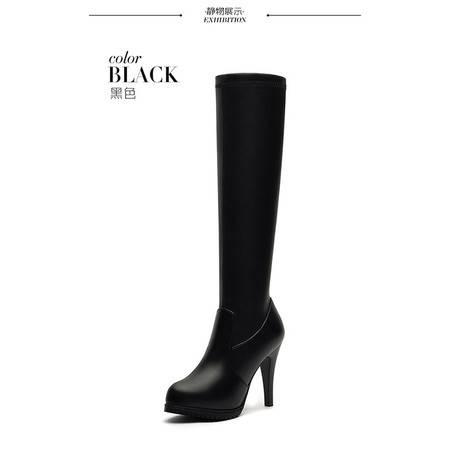 莱卡金顿 6121高筒靴女士高跟细跟长靴2016新款冬季女鞋秋冬款瘦腿弹力布女靴子