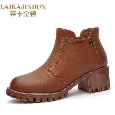 莱卡金顿 6154冬季新款粗跟短靴女靴子防水台高跟鞋马丁靴及踝靴秋冬季女鞋