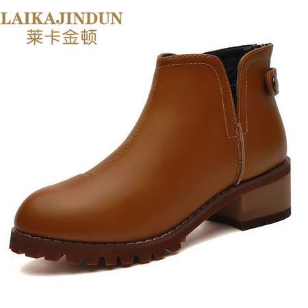 莱卡金顿6125 秋冬新款马丁靴女英伦风复古短筒粗跟平底圆头短靴子