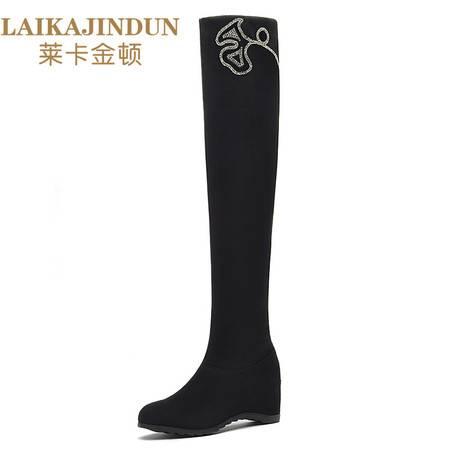 莱卡金顿 2016秋冬季新款纯色圆头坡跟过膝弹力靴长筒靴女马丁靴子6177