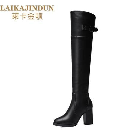 莱卡金顿 2016秋冬季新款纯色圆头高跟细跟过膝长筒靴女马丁靴女靴6167