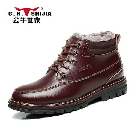 公牛世家 888364男鞋冬季马丁靴男真皮英伦系带男士短靴加绒保暖潮流靴子