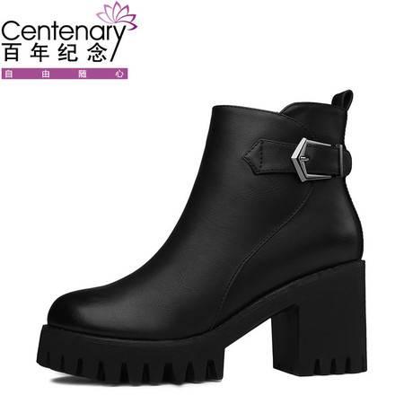 百年纪念 高跟女鞋粗跟短靴2016秋冬季新款厚底靴子英伦风马丁靴潮1357