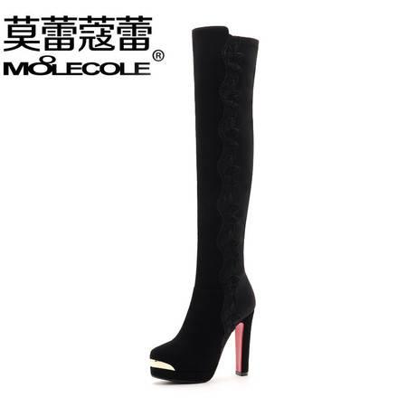 莫蕾蔻蕾 秋冬时尚圆头女靴套筒长筒靴加绒棉靴高跟细跟骑士靴防水台过膝靴1035-3