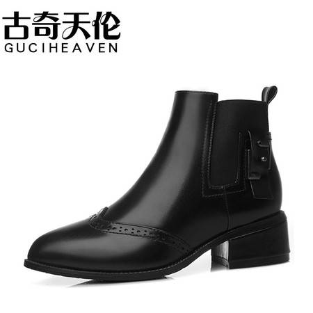 GUCIHEAVEN/古奇天伦 2016冬季短靴中跟马丁靴休闲女鞋靴子JY8524