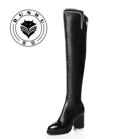 盾狐 2016冬季新款过膝长靴女高跟棉靴粗跟高筒弹力靴马丁骑士女靴5516