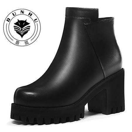 盾狐 2016秋冬季女靴子马丁靴英伦风冬鞋高跟粗跟加绒厚底女鞋短靴9006-1