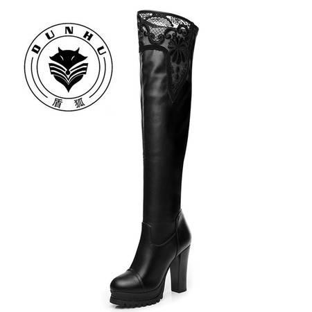 盾狐 过膝长靴冬季蕾丝高筒靴粗跟弹力靴高跟防水台时尚皮靴女靴子5519