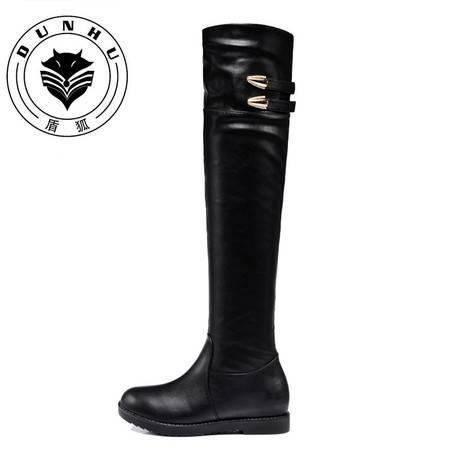 盾狐 平底过膝长靴子秋冬季女鞋2016新款保暖加绒长筒靴瘦腿弹力靴6012