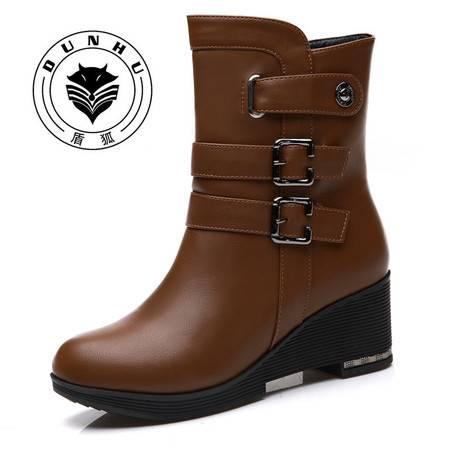 盾狐 坡跟短靴女厚底休闲雪地靴女高跟棉靴子马丁靴女2016秋冬女鞋5838