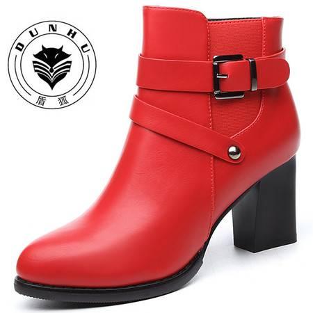 盾狐 2016秋冬新款粗跟短筒女靴防水台马丁靴女高跟短靴女时尚女鞋68306