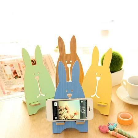 艾米娅 兔子手机支架 韩国创意手机座 木质懒人床头手机托架