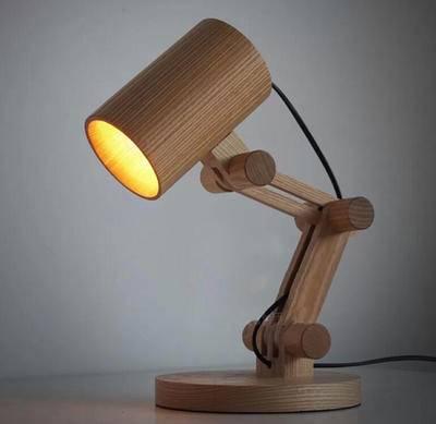 设计师灯床头欧式卧室宜家个性礼品创意复古长臂木头橡木小台灯
