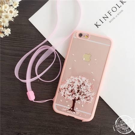 艾米娅 日韩iphone6手机壳带挂绳5s可挂脖超薄苹果6plus硅胶保护清新套女