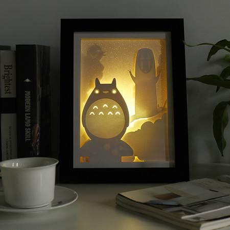 艾米娅 3D立体光影纸雕灯麋鹿剪纸灯床头装饰温馨小夜灯卧室创意礼品台灯