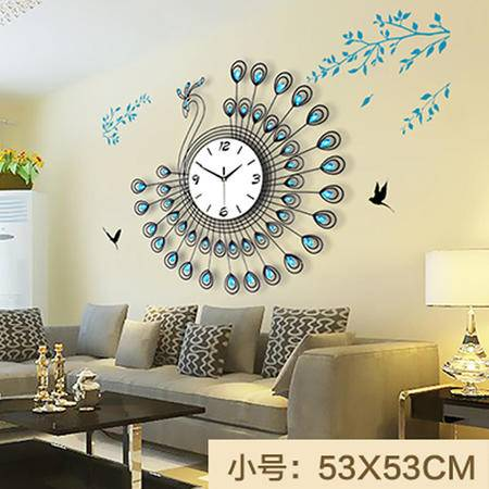 艾米娅 孔雀现代钟表挂钟客厅欧式时尚简约创意石英钟卧室静音时钟装饰表