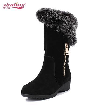 艾米娅 雪地靴女中筒加厚短筒靴皮毛一体2016冬季新款学生韩版靴保暖棉鞋