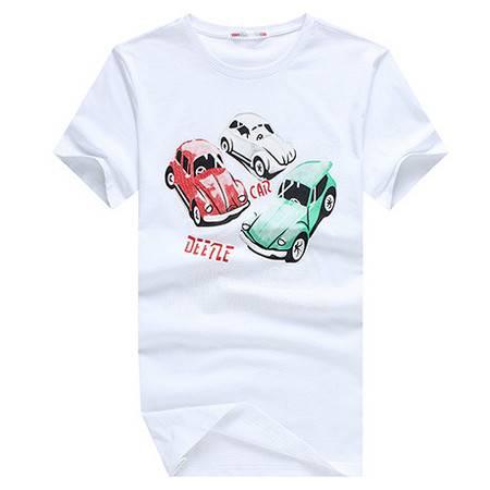衣佰惠潮男t恤 夏季韩版圆领男装白色t恤 潮流休闲卡通印花半截袖