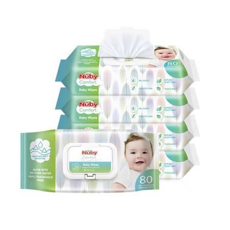 nuby 婴儿柔肤湿纸巾80抽*5包