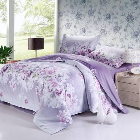 全棉斜纹活性印花床品四件套 米方AB版-爱的花海-紫