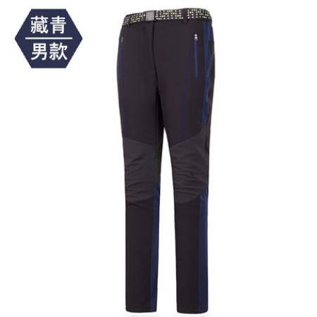 乐逸登 秋冬户外拼色冲锋裤男女防风保暖防水加厚登山滑雪裤