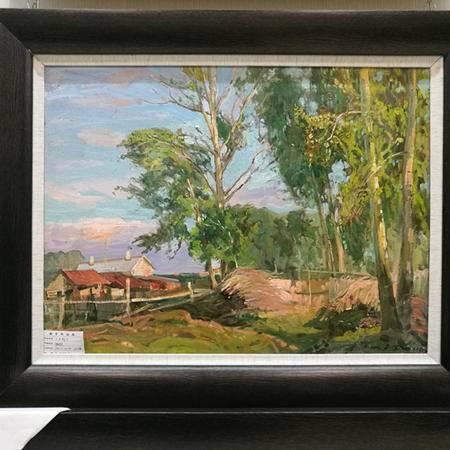 俄罗斯功勋画家油画《夕阳》 具有收藏升值价值