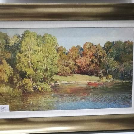 俄罗斯功勋画家油画《秋天来临》 具有收藏升值价值