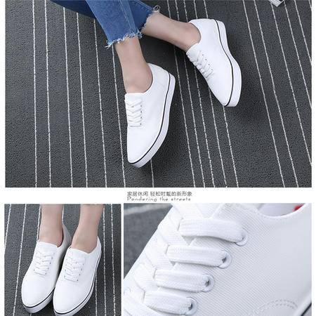 人本夏街头简约尖头帆布鞋女纯色小白鞋系带经典常青款平板鞋253