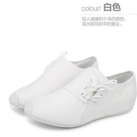 人本帆布糖果色休闲女跑鞋211 侧系带贴合脚型涤棉布