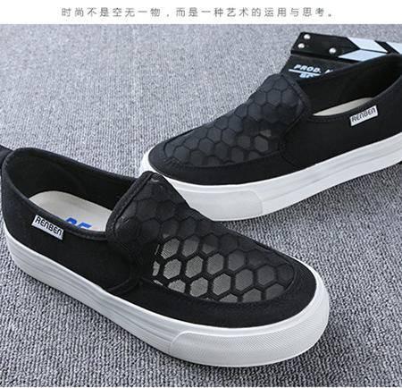 人本帆布镂空休闲女鞋8176 透气时尚简约舒适女款