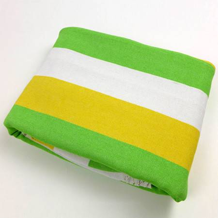 锦绣优质四季毯三件套黄绿白条纹