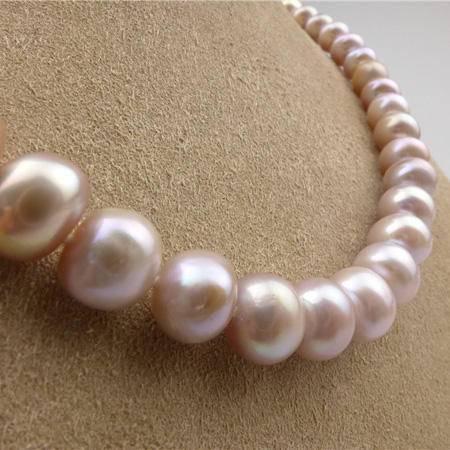 老银铺珍珠项链 紫色 43厘米 直径8mm