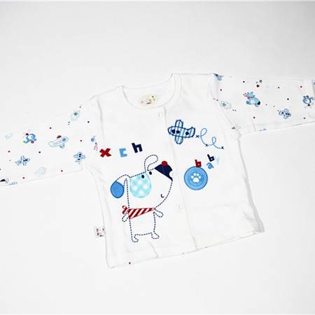 小彩虹对开上衣70-100C491-1  棉毛 白底卡通印花 儿童上衣