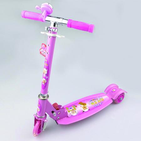 圣运 儿童手扶滑板车  可折叠平板闪光三轮单脚手扶单板