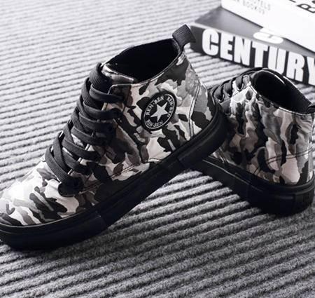 人本2015秋季新款军装迷彩系带帆布鞋 高帮厚底欧美休闲鞋 8277