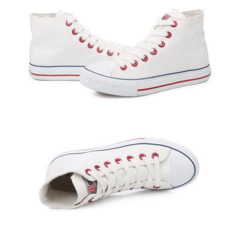 人本平底休闲高帮鞋 系带学生单鞋 8635