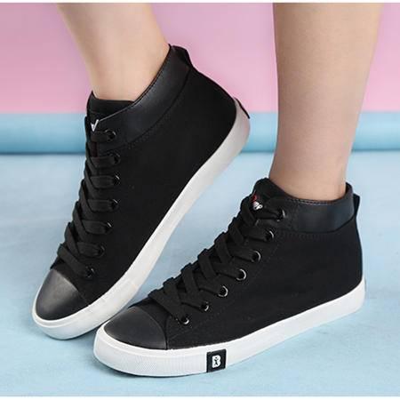 人本秋季新款清新纯色帆布鞋女 8123