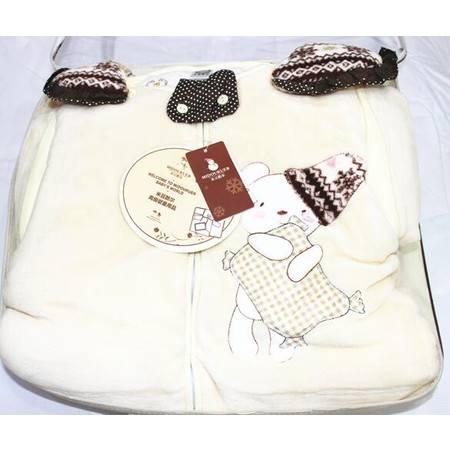 米豆酷尔法兰绒睡袋3850新生婴幼儿儿童小孩防踢被秋冬保暖防寒睡袋