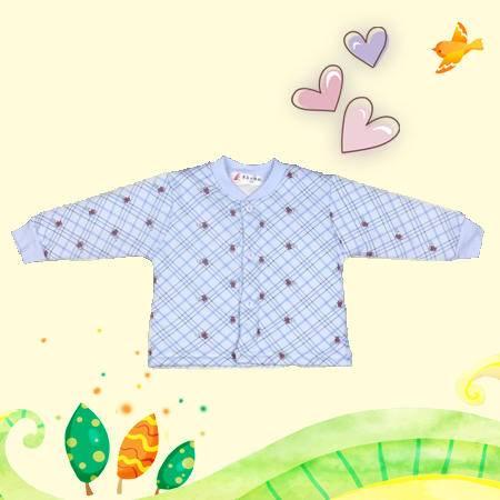 小蚂蚁南极棉斜格小熊上衣70-80 儿童保暖夹棉舒适秋衣