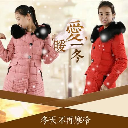 【邮乐新乡馆】婧丽达66121  真毛领羽绒服女中长款大衣保暖外套