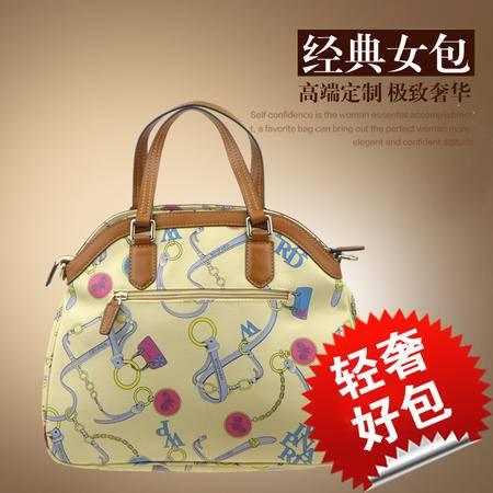 威豹 时尚女包WA7735 米白色 新款 清新印花  英伦格调 大两用包