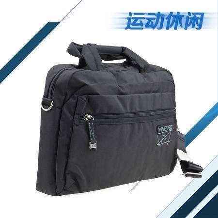 WINPARD/威豹/B9146单肩包黑色男女肩挎包公事包时尚斜挎包休闲电脑包14寸