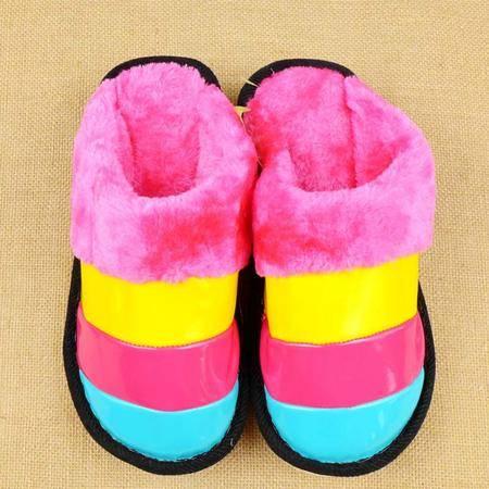 美年顺8132  居家冬季棉拖鞋家居秋冬漆皮防滑保暖防水男女冬天地板皮拖鞋