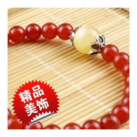 红玛瑙蜂蜜石手串 单层手链女士时尚首饰 手链手串 转运祈福